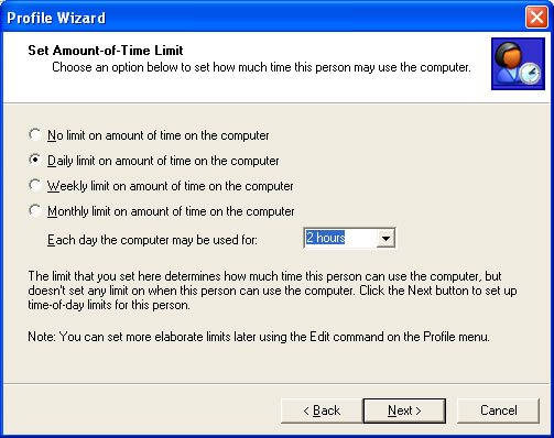 Setting a Daily Limit in the Profile Wizard