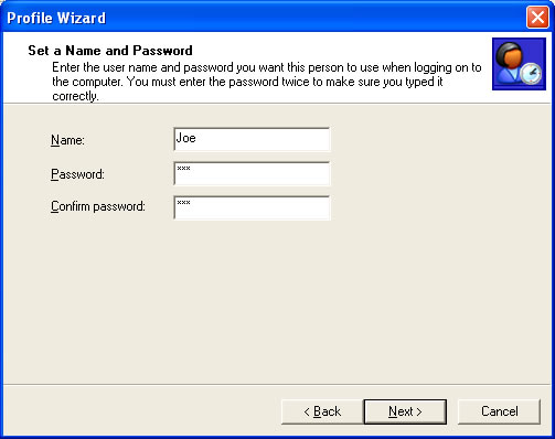 Setting Password in the Profile Wizard
