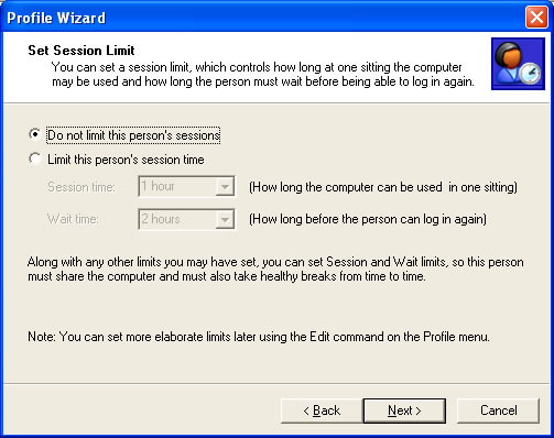 Setting a Session Limit in the Profile Wizard