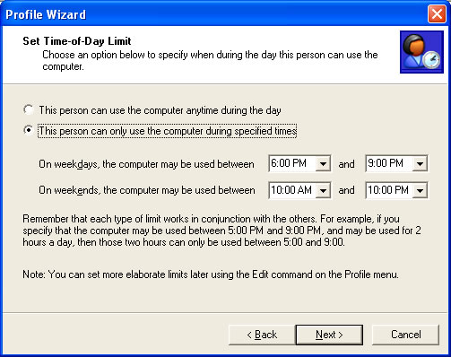 Setting Time-of-Day Limits in the Profile Wizard